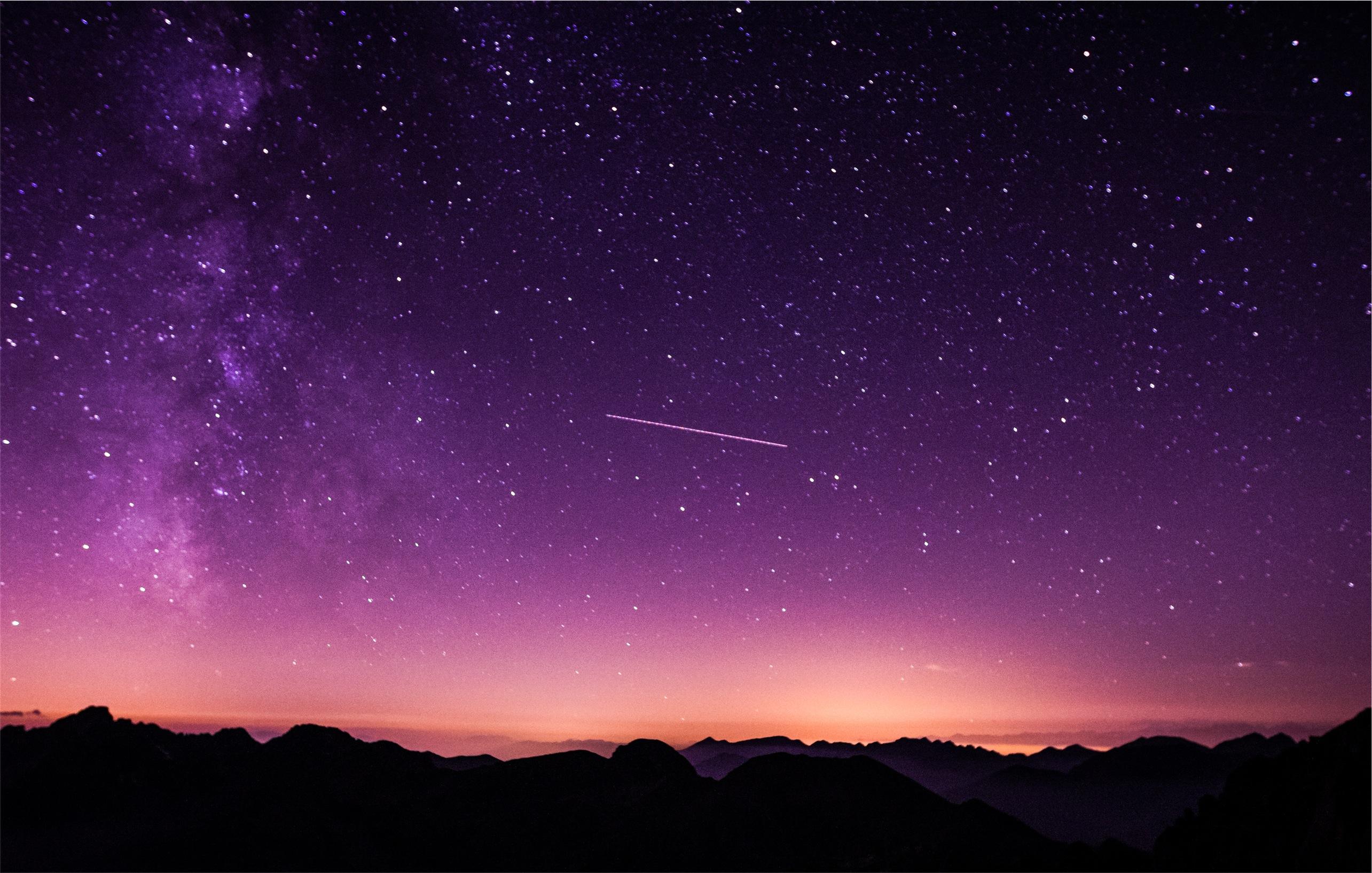 Shooting Stars In Purple Sky