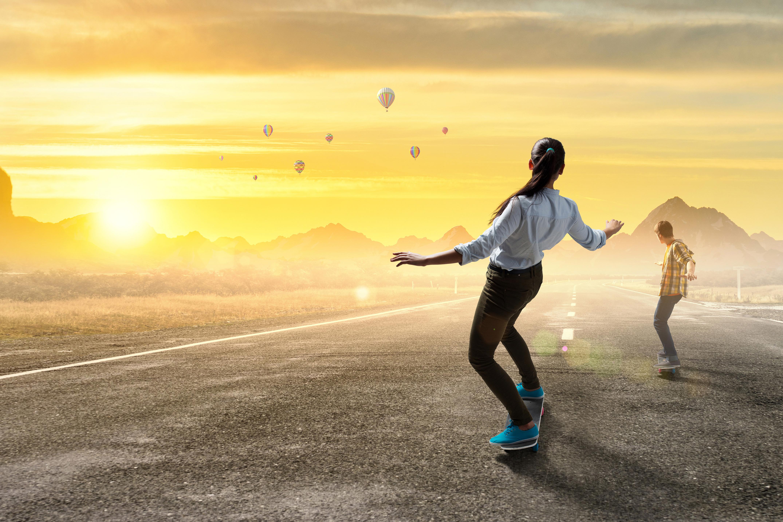 Sport Girl 4k Wallpaper: Skateboard Girl Boy Road Sunrise, HD Sports, 4k Wallpapers