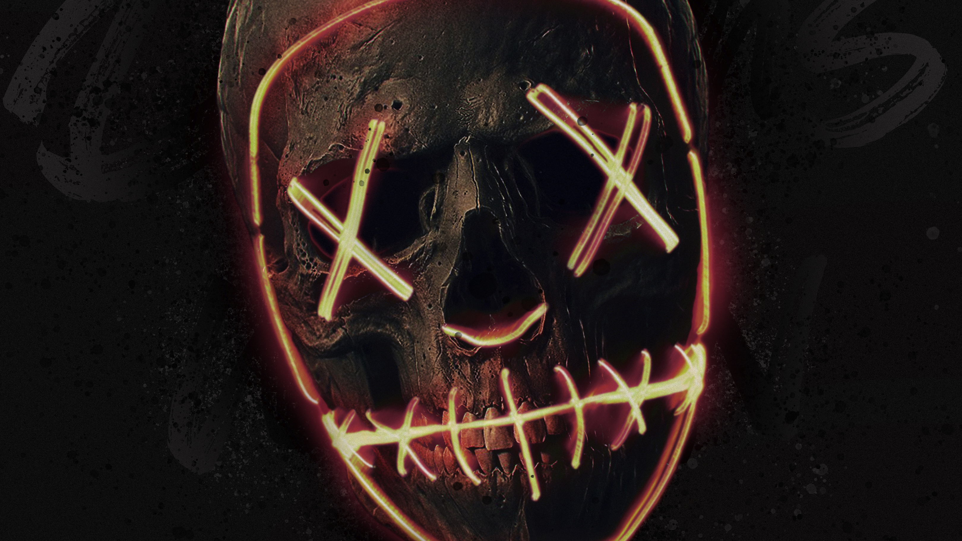 Skull Neon Mask Hd Artist 4k Wallpapers Images