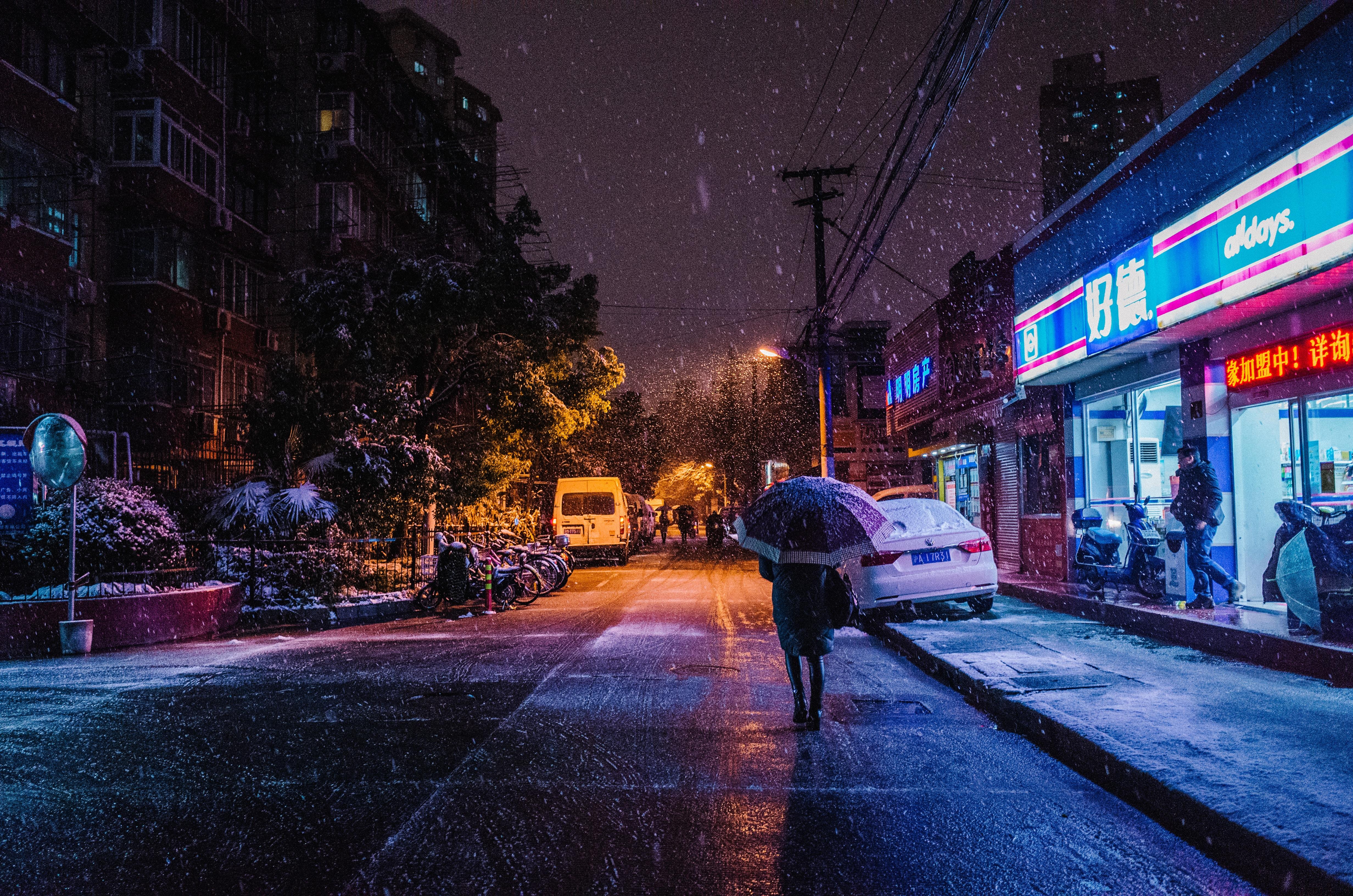 Snow Night Street People Walking 5k Hd Nature 4k