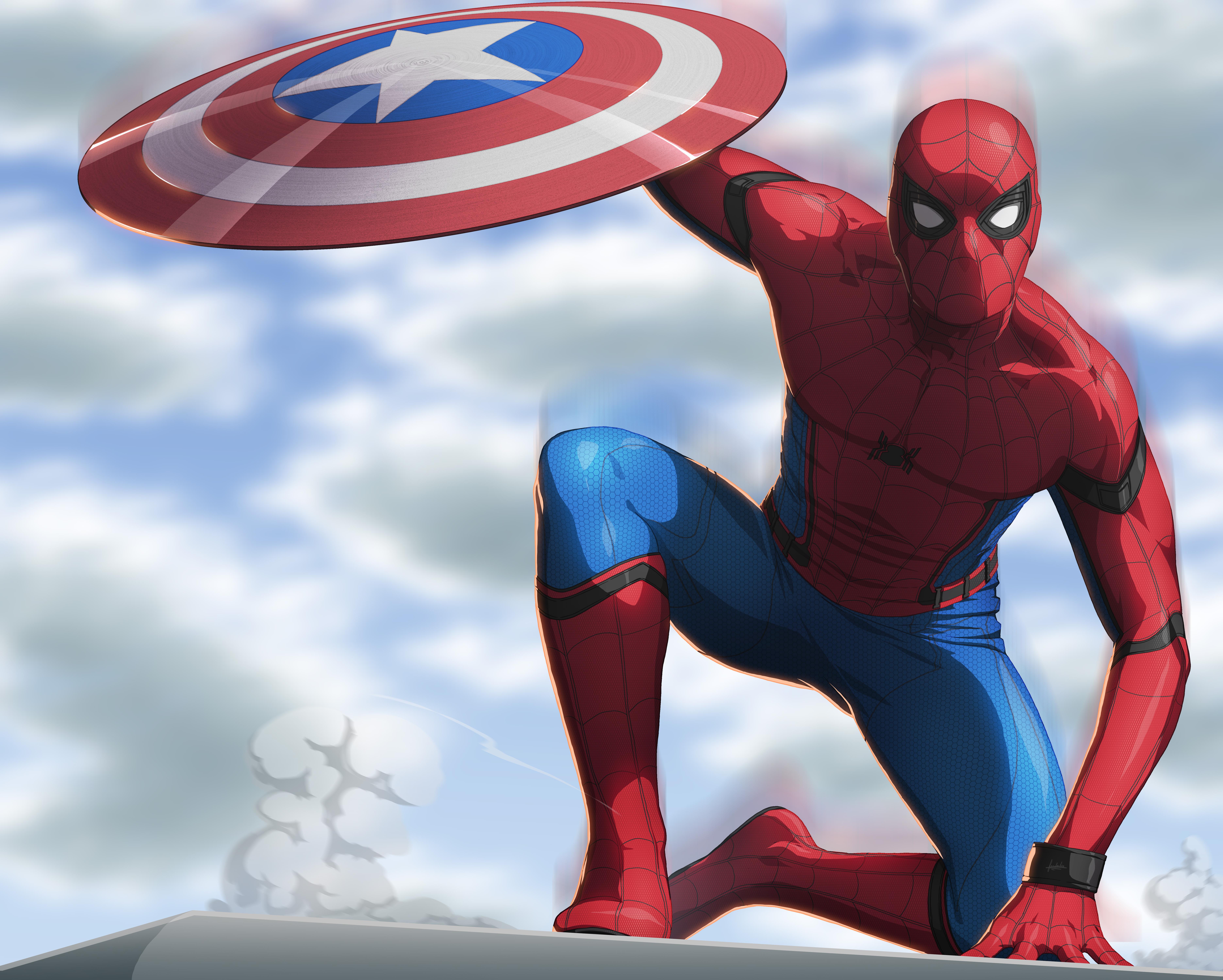 Spiderman Civil War Artwork 8k, HD Superheroes, 4k Wallpapers, Images, Backgrounds, Photos and