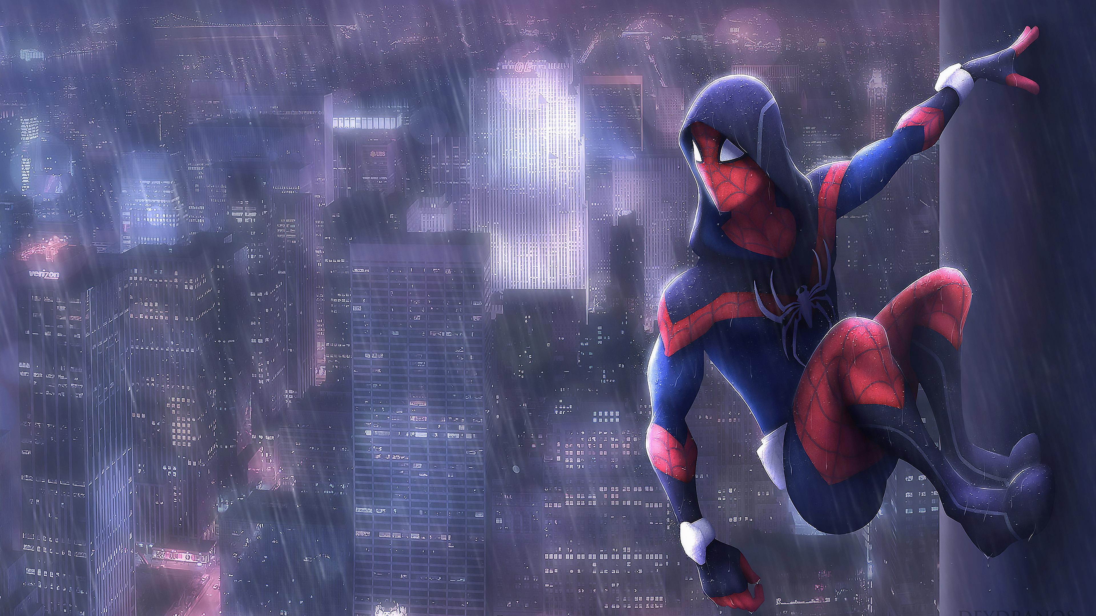 1920x1080 Spiderman In Rain Art Laptop Full Hd 1080p Hd 4k