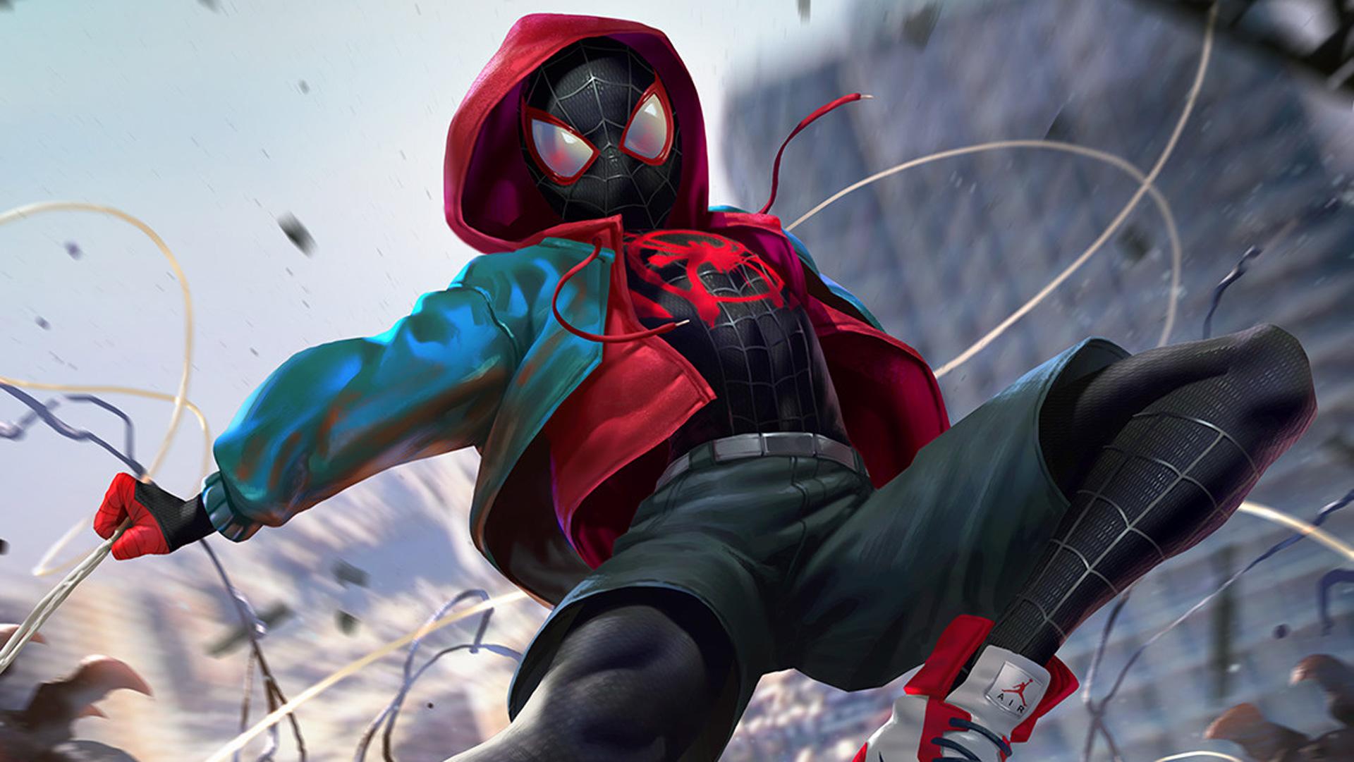 spiderman into the spider verse digital art 2018 hd