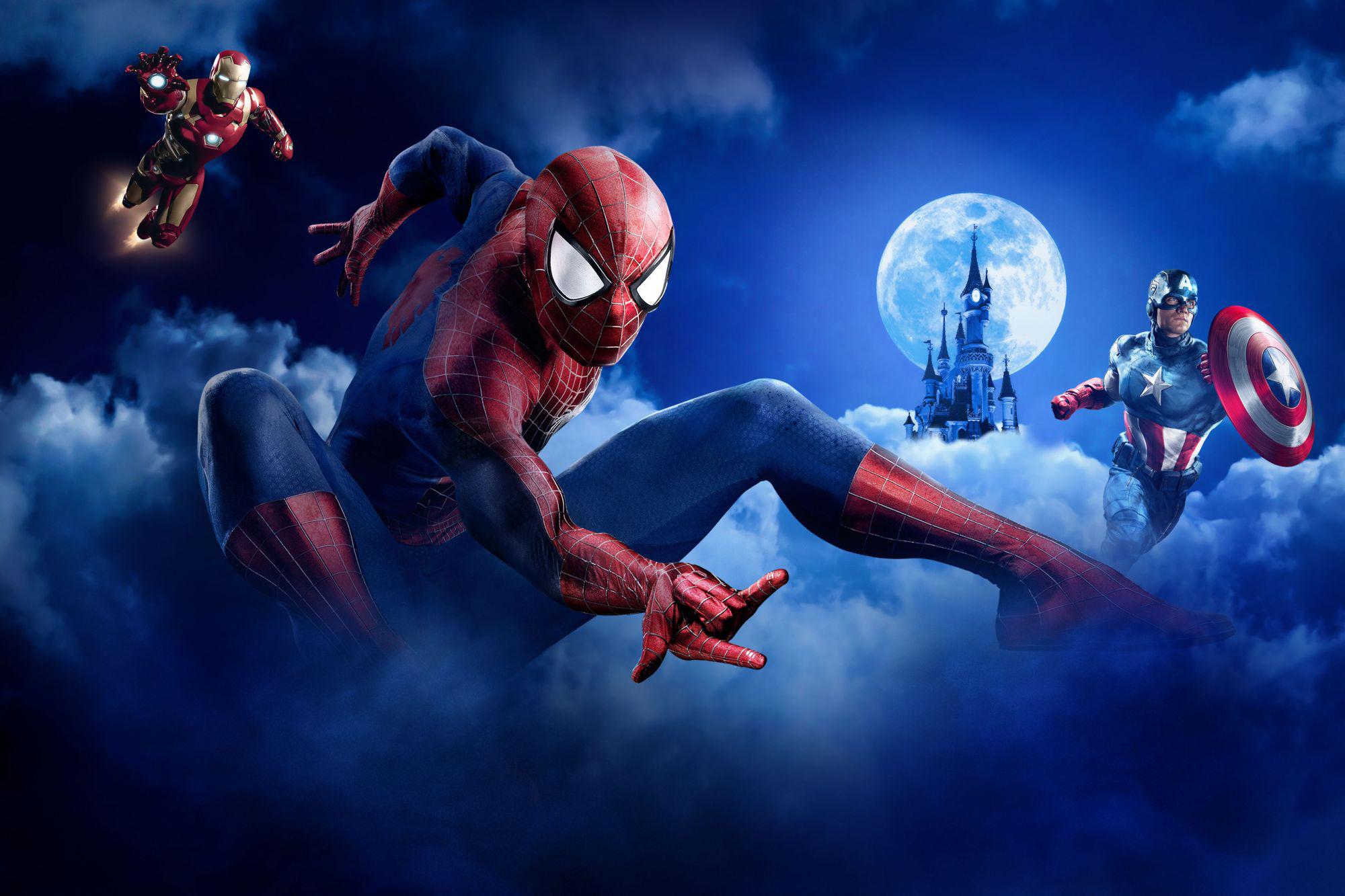 Spiderman iron man captain america hd superheroes 4k - Iron man spiderman wallpaper ...