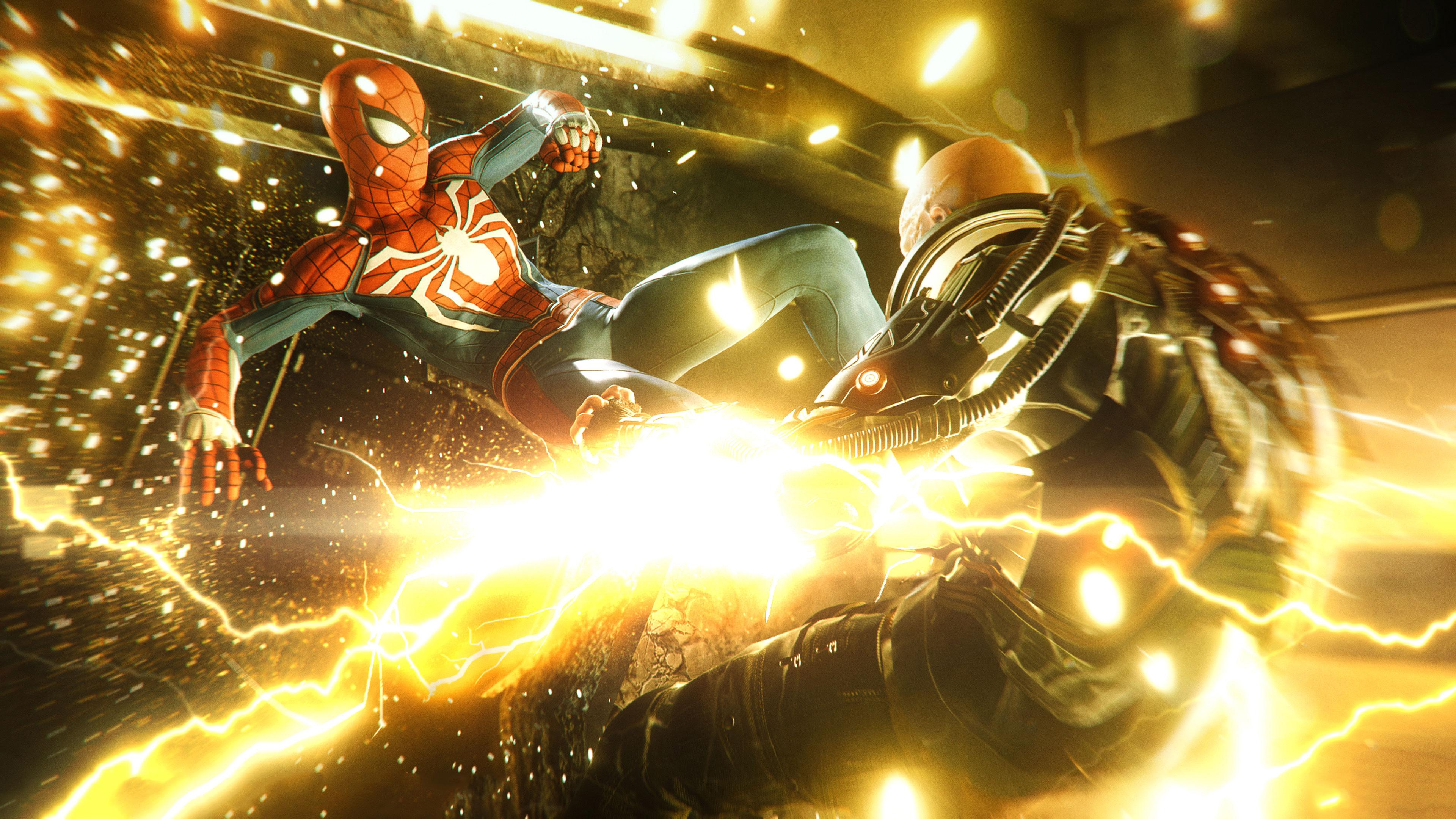 Spiderman Kicking Electro Hd Games 4k Wallpapers Images