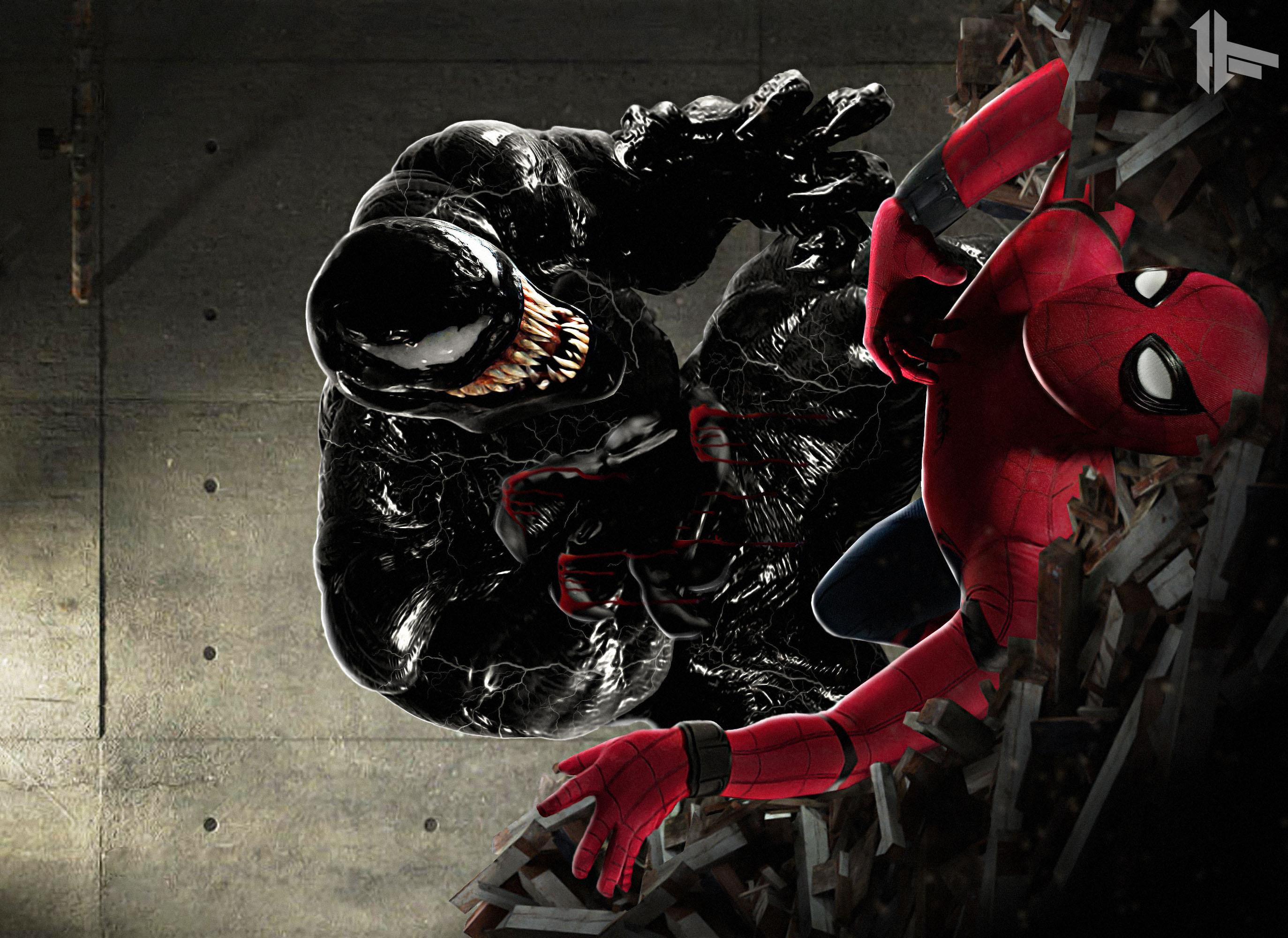 2048x2048 Venom 2018 Movie 4k Ipad Air Hd 4k Wallpapers: 2048x2048 Spiderman Vs Venom Art Ipad Air HD 4k Wallpapers