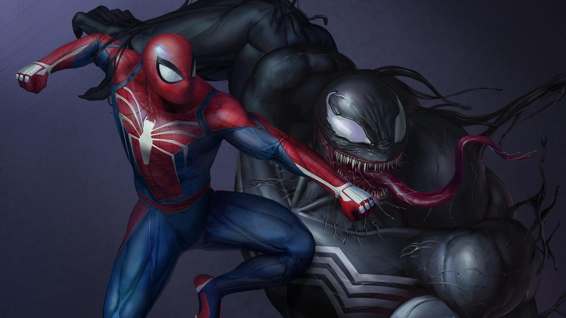 Spiderman Vs Venom Artwork Hd Hd Superheroes 4k Wallpapers Images