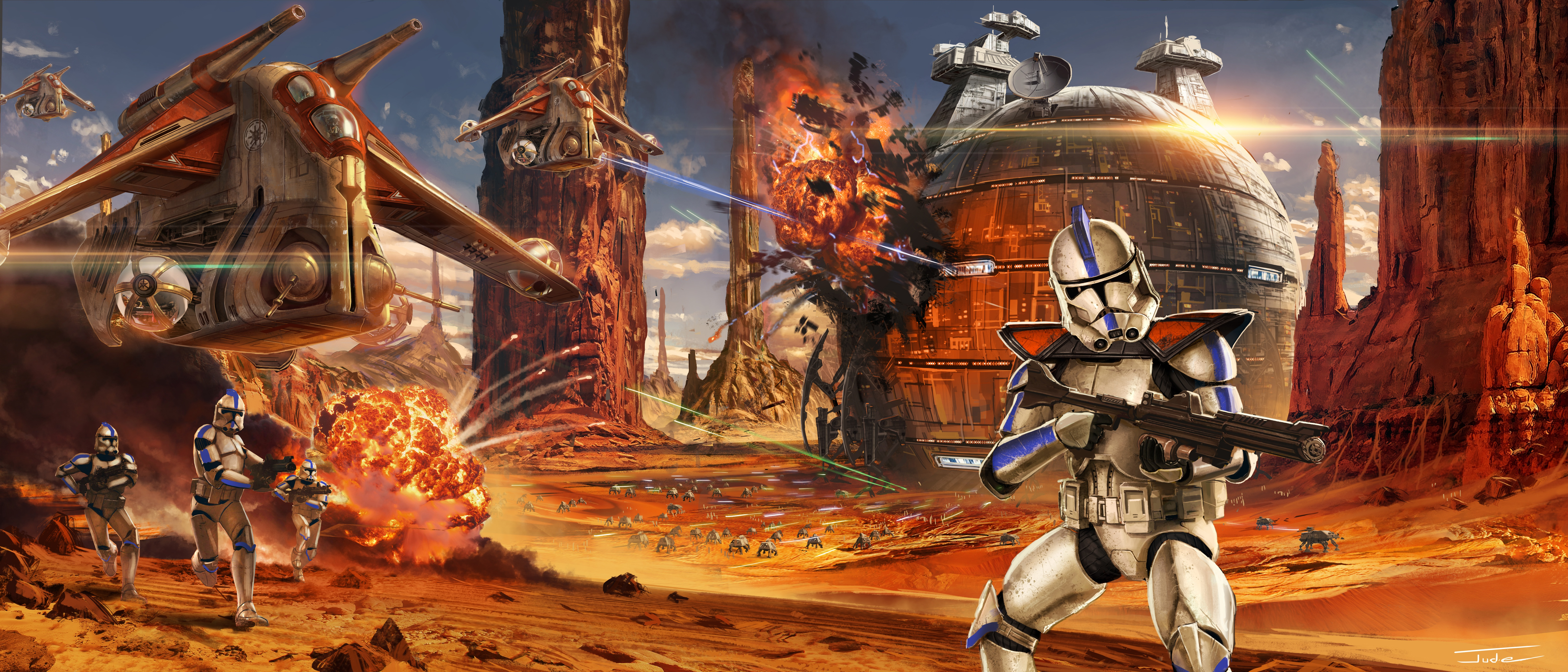 Star Wars The Clone Wars Wallpaper: Star Wars Artwork Geonosis Clone Trooper, HD Artist, 4k