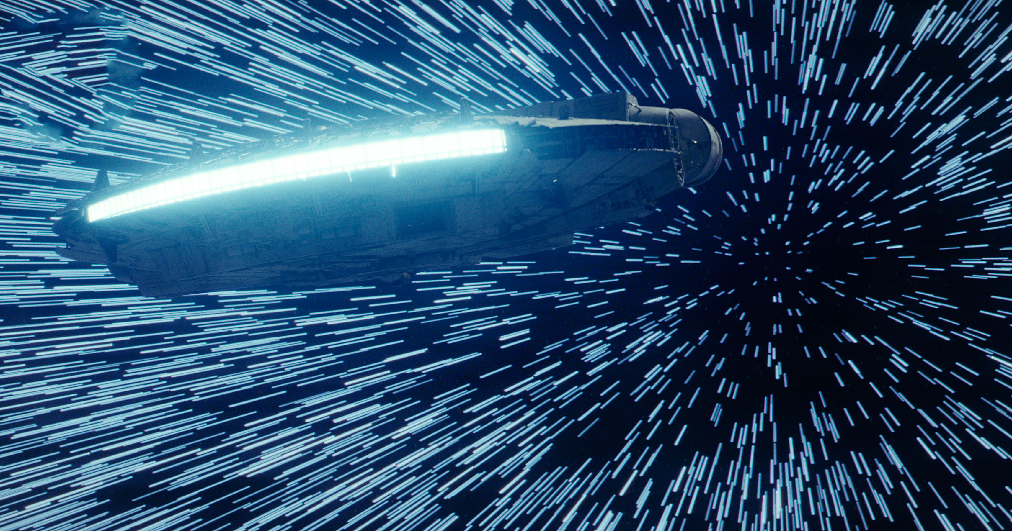 star wars the last jedi millennium falcon hitting lightspeed, hd