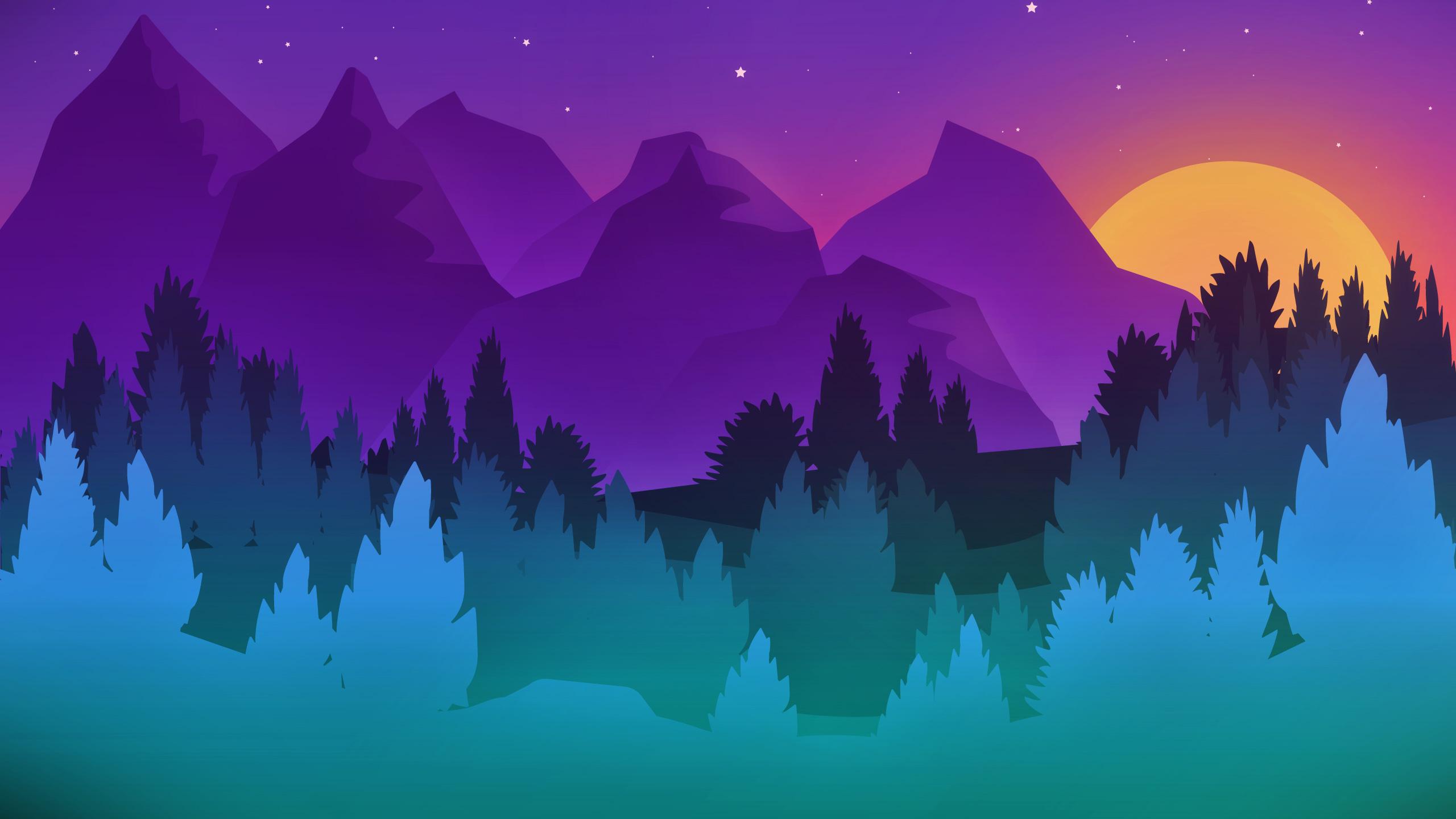 Stars Mountains Trees Colorful Minimalist Artwork, HD ...