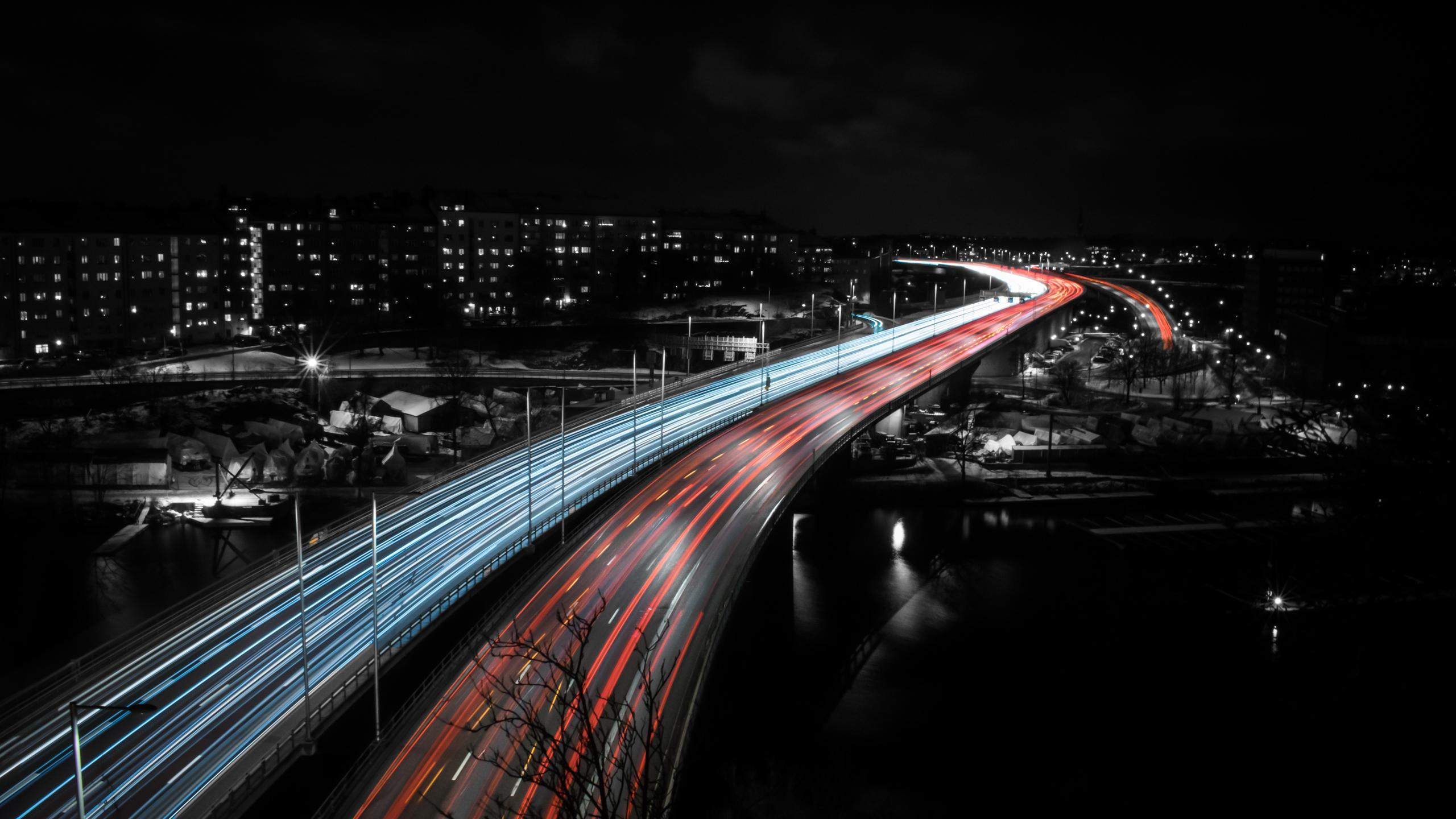 1440x2560 Stockholm Highway Speed Trails Lights Samsung
