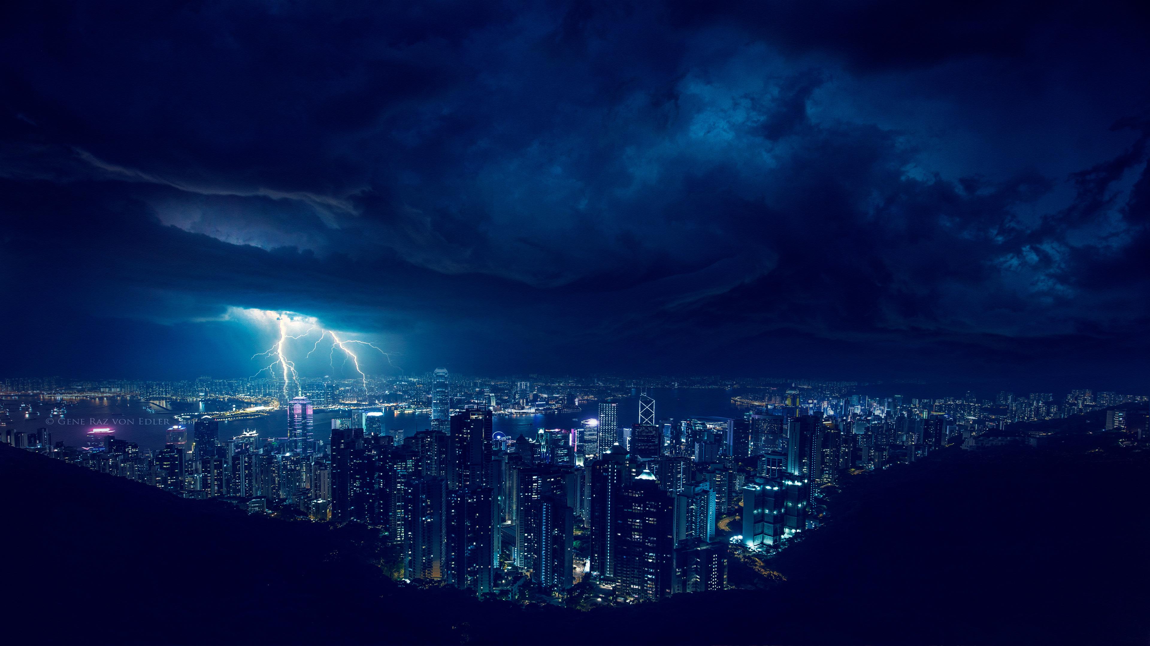 Storm Night Lightning In City 4k Hd Photography 4k
