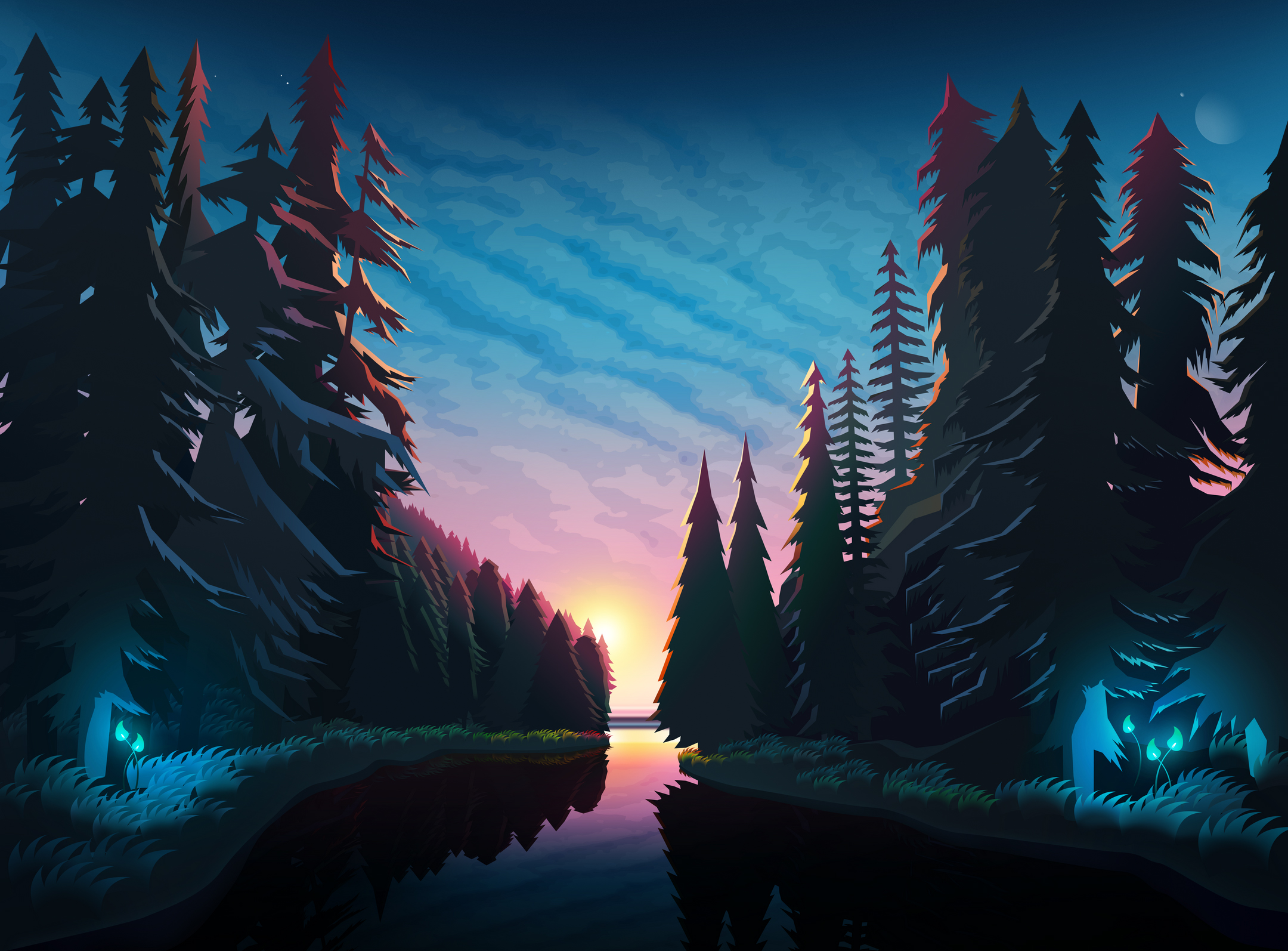 Sundown Landscape Minimalist, HD Artist, 4k Wallpapers ...