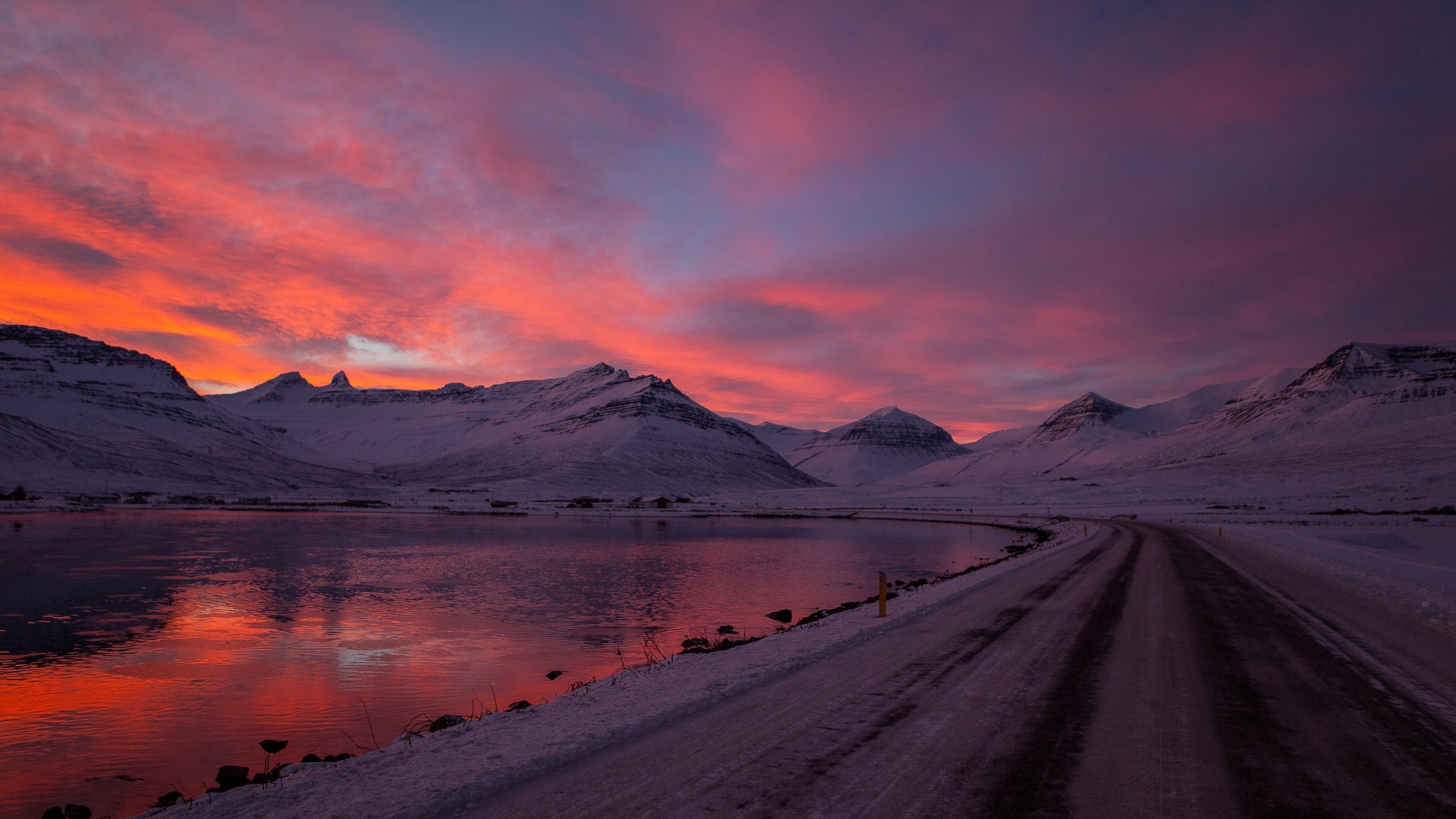 Sunset Beach Snow Mountains