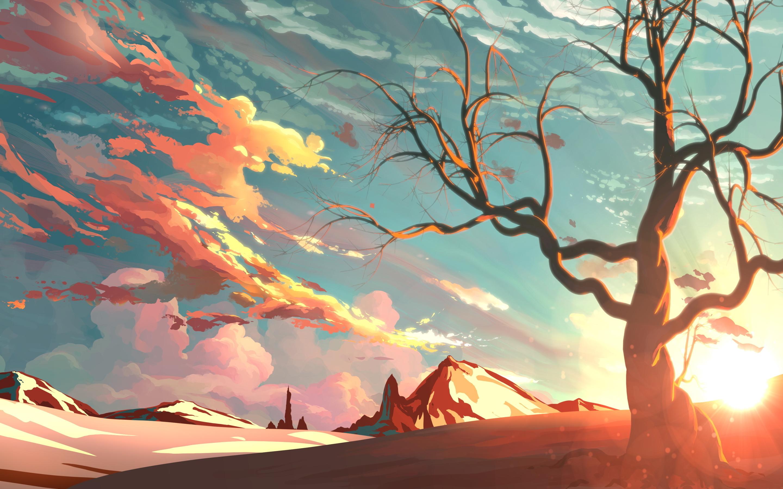 2880x1800 Sunset Beautiful Painting Macbook Pro Retina HD 4k