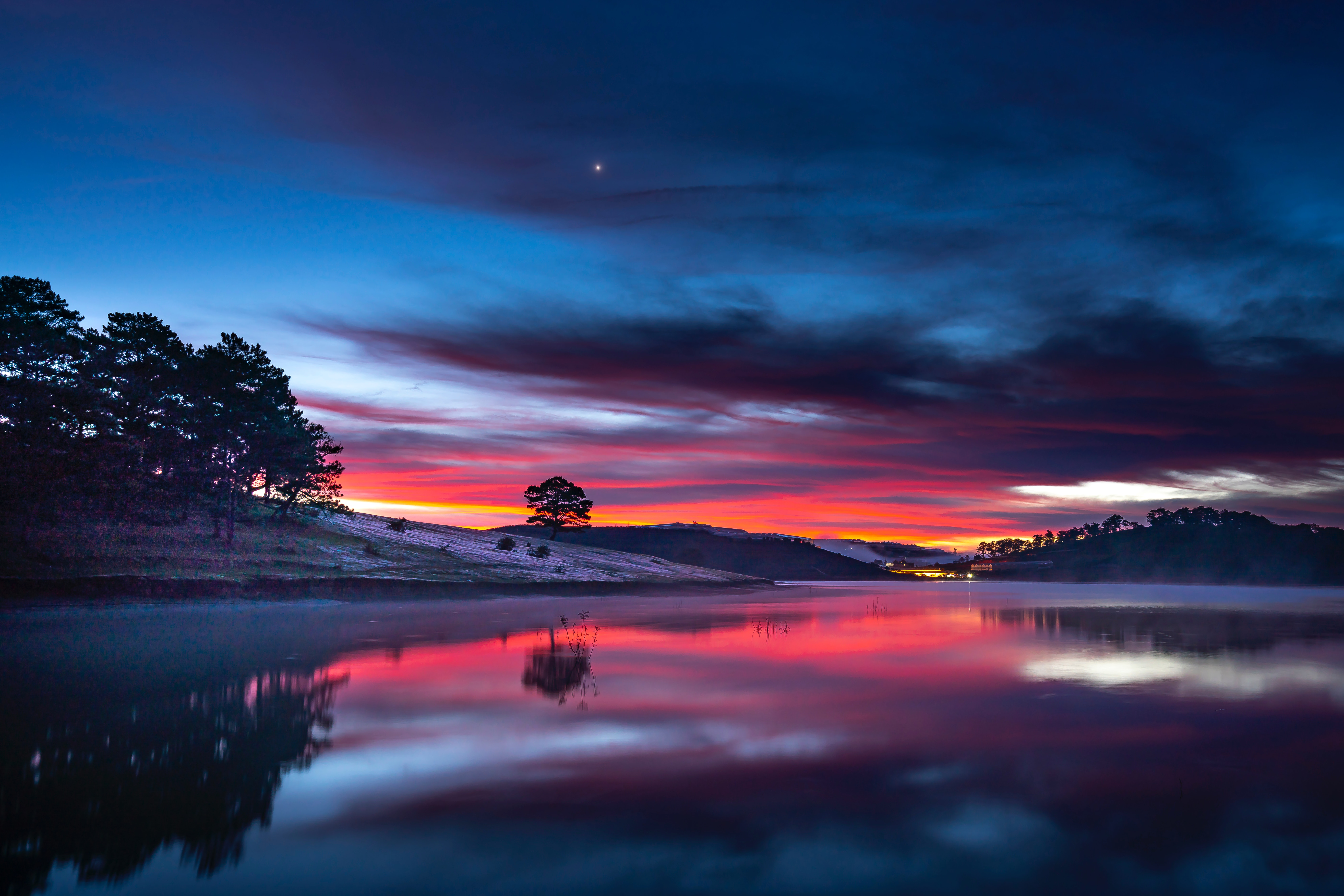 1920x1080 Sunset Clouds Reflection In Lake 8k Laptop Full ...