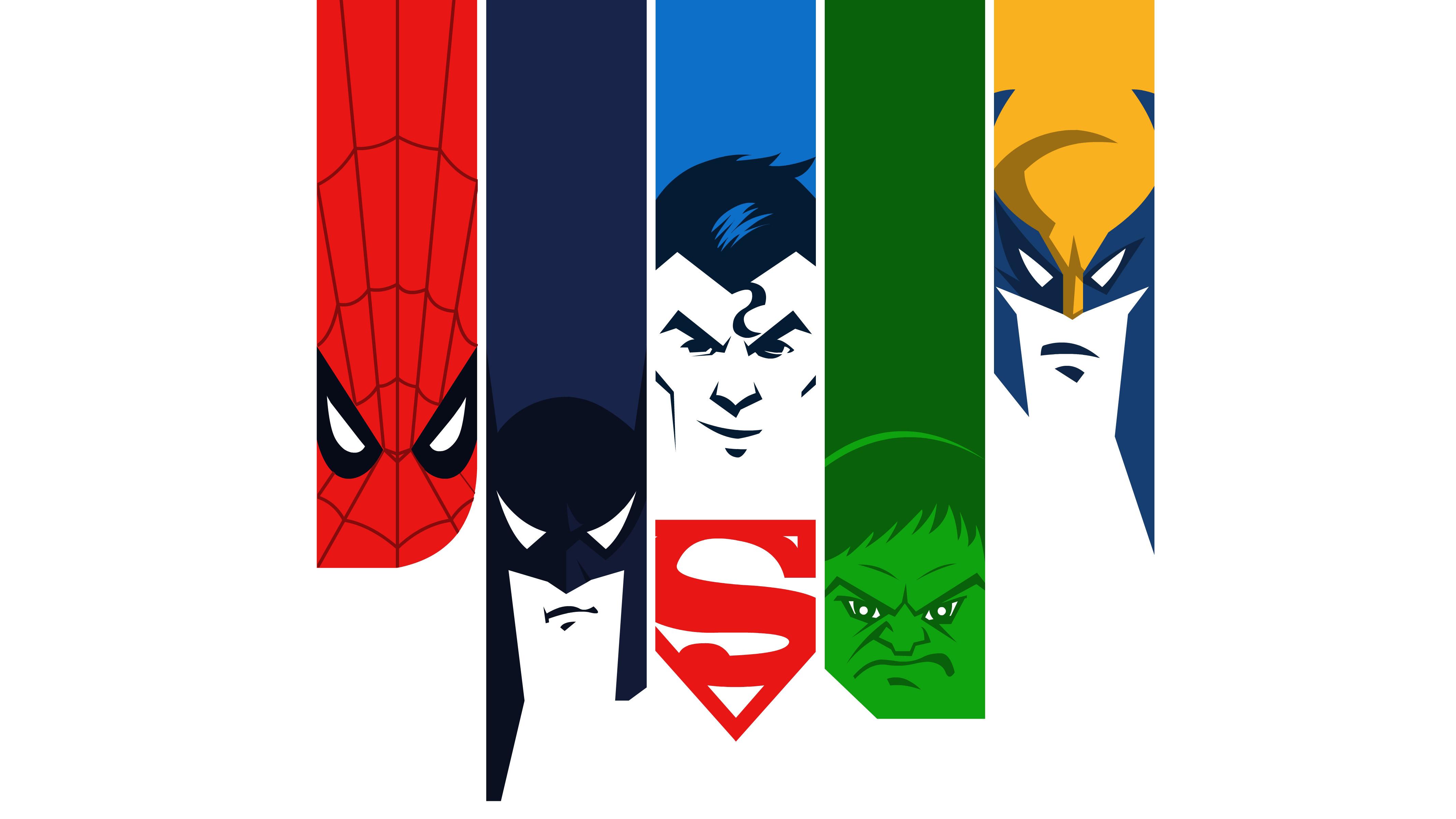 Superman and batman and spiderman logo