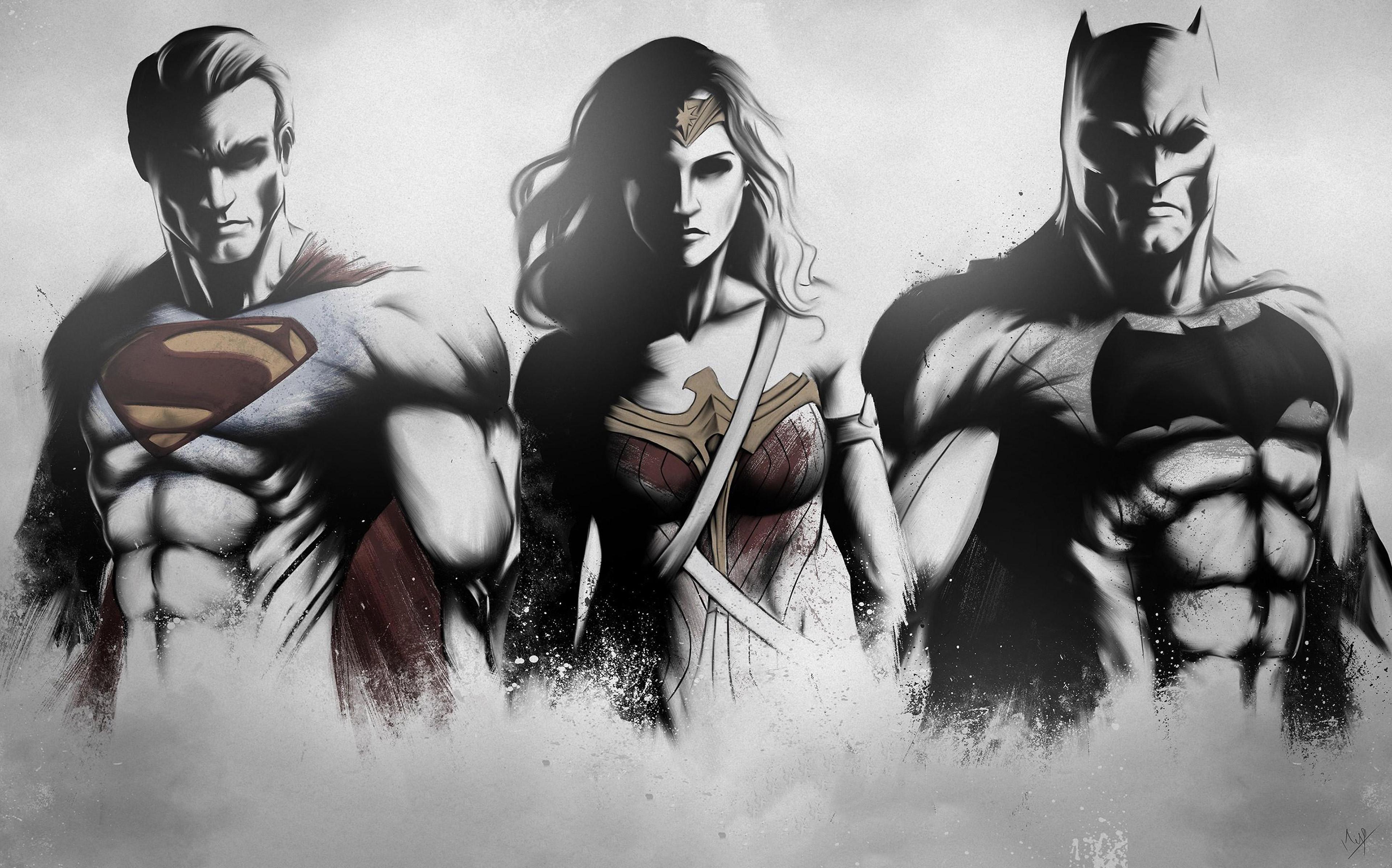 Superman Wonder Woman Batman Art Sketch 4k Hd Superheroes 4k