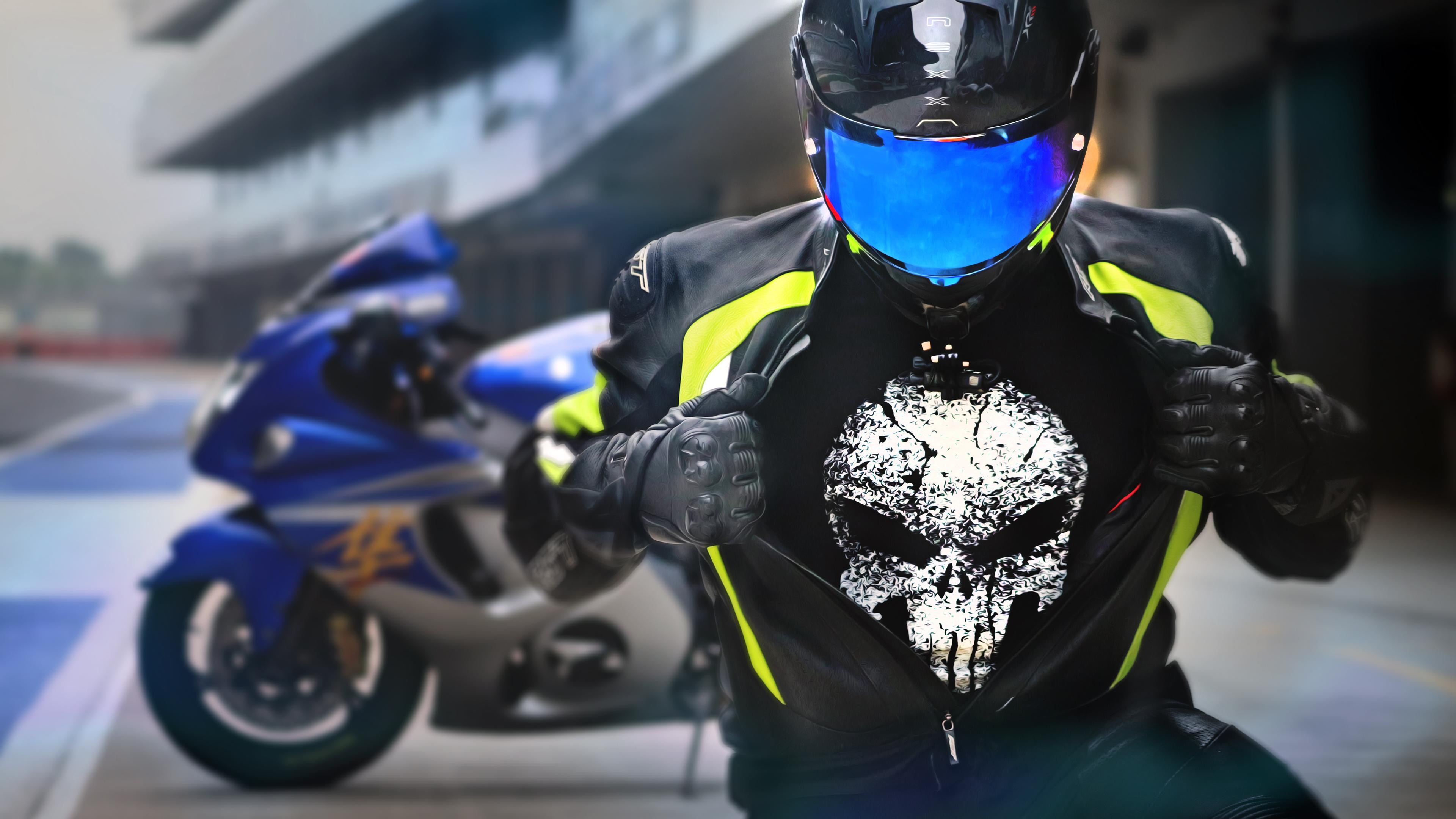 Suzuki Hayabusa Rider Wearing Punisher T Shirt, HD Bikes