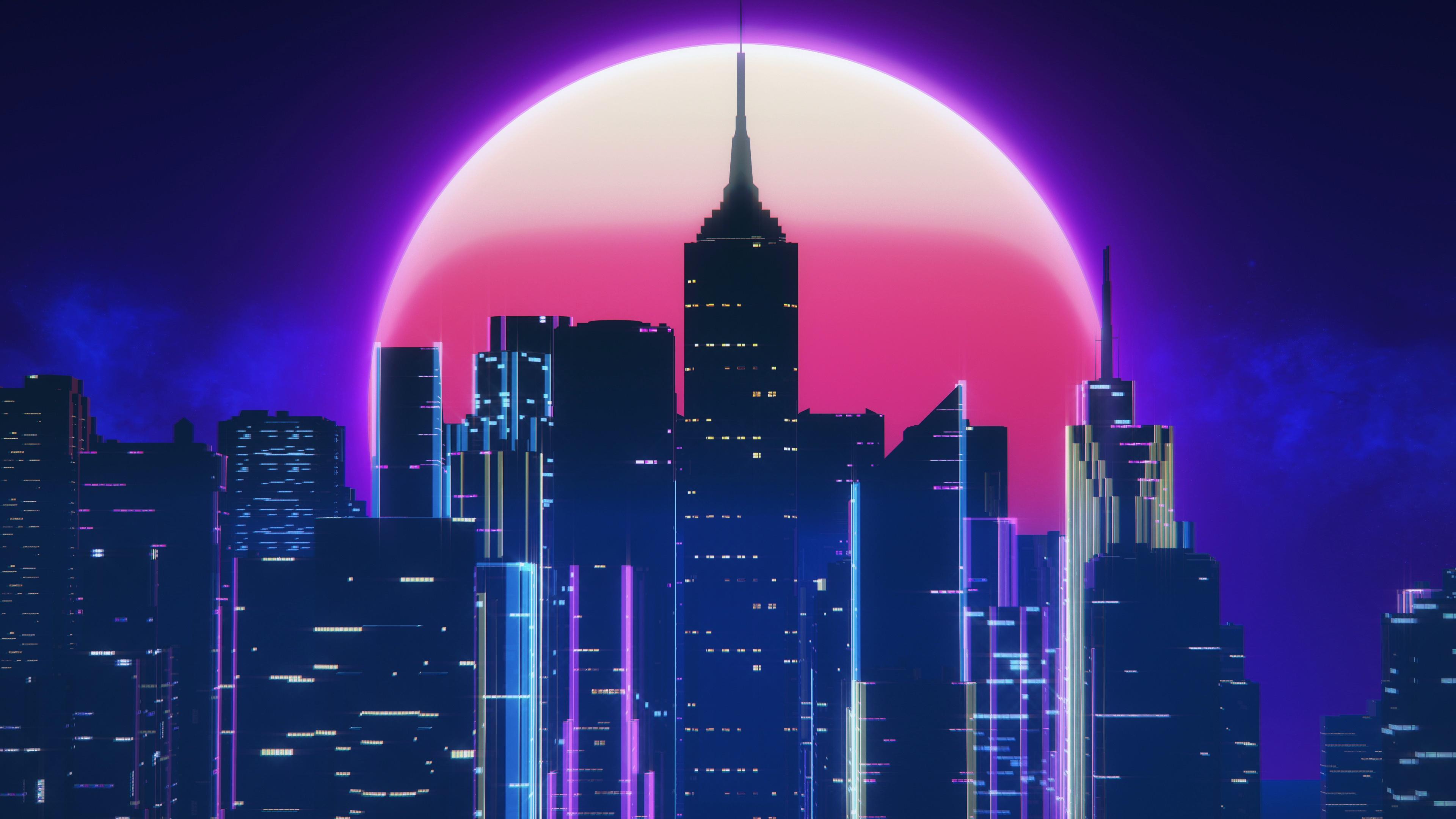 Synthwave City Retro Neon 4k