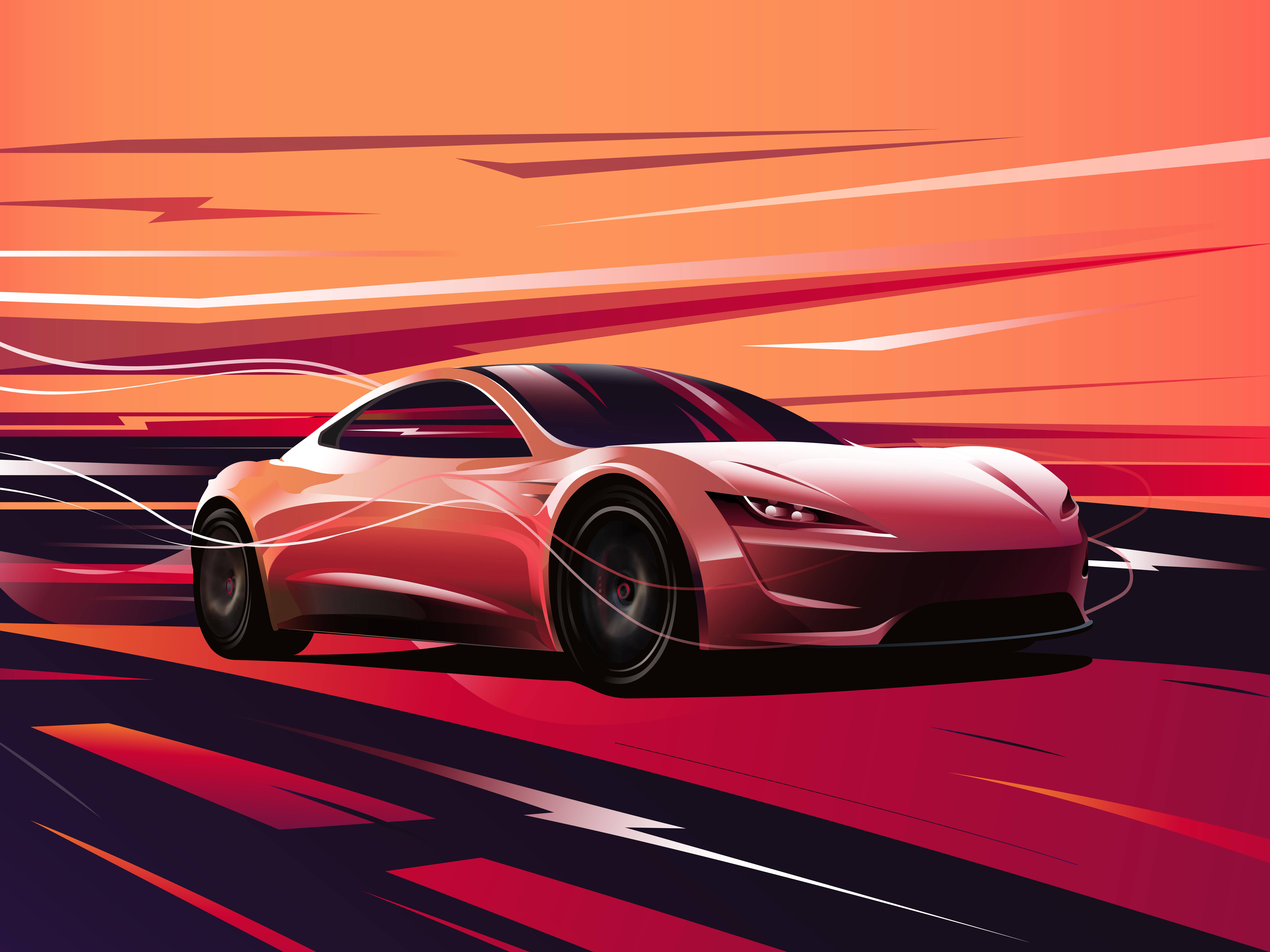 Tesla Roadster Digital Art 8k Hd Cars 4k Wallpapers