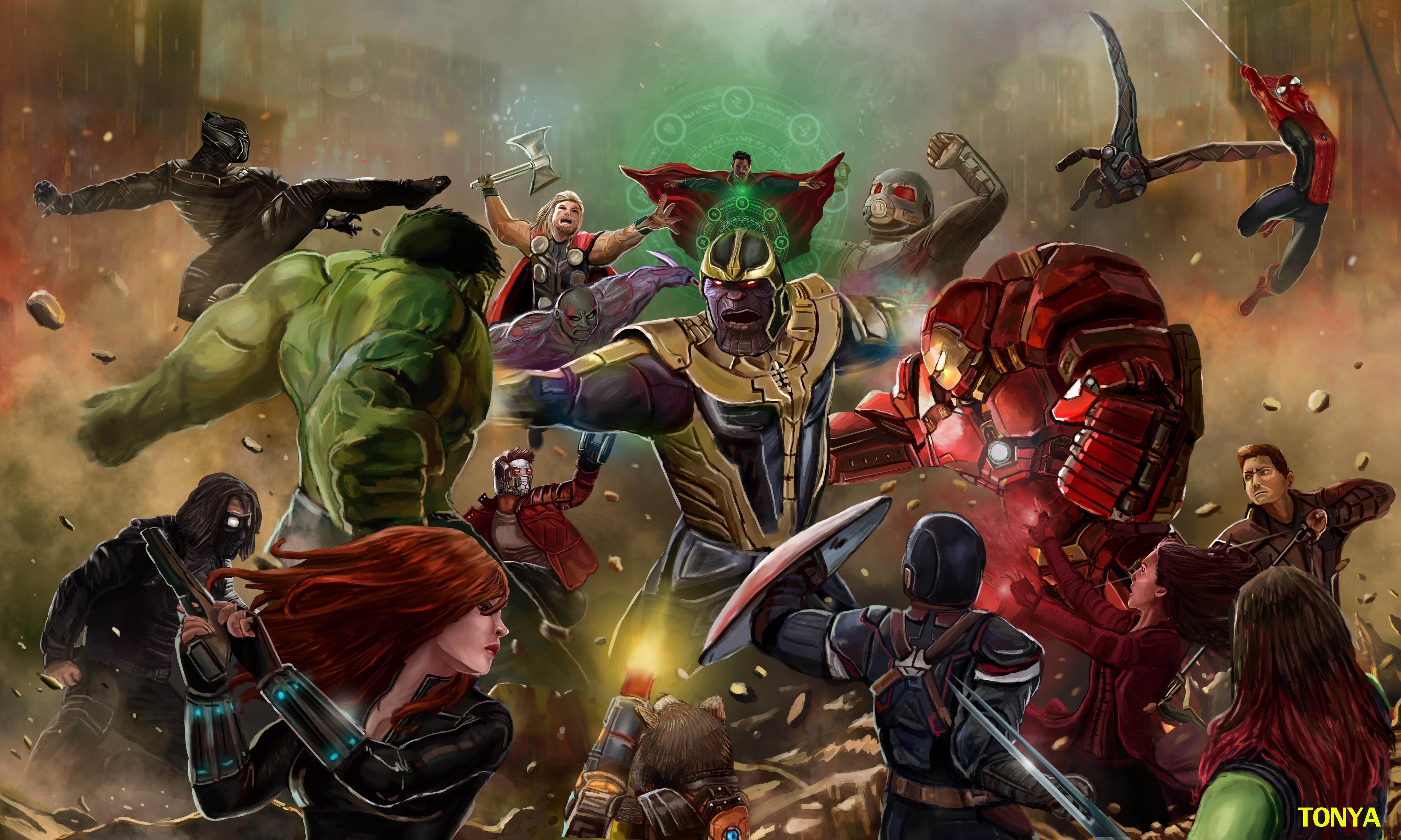 Wallpaper Thanos Avengers Infinity War Artwork Hd: Thanos Beating All The Avengers In Avengers Infinity War