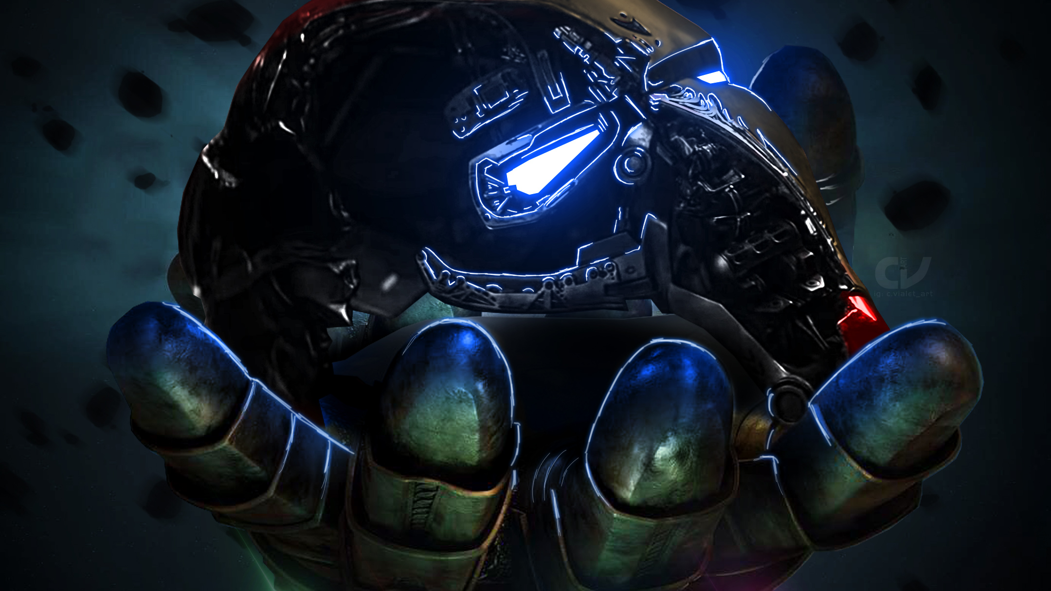 Thanos infinity gauntlet holding iron man mask hd for Sfondi iron man