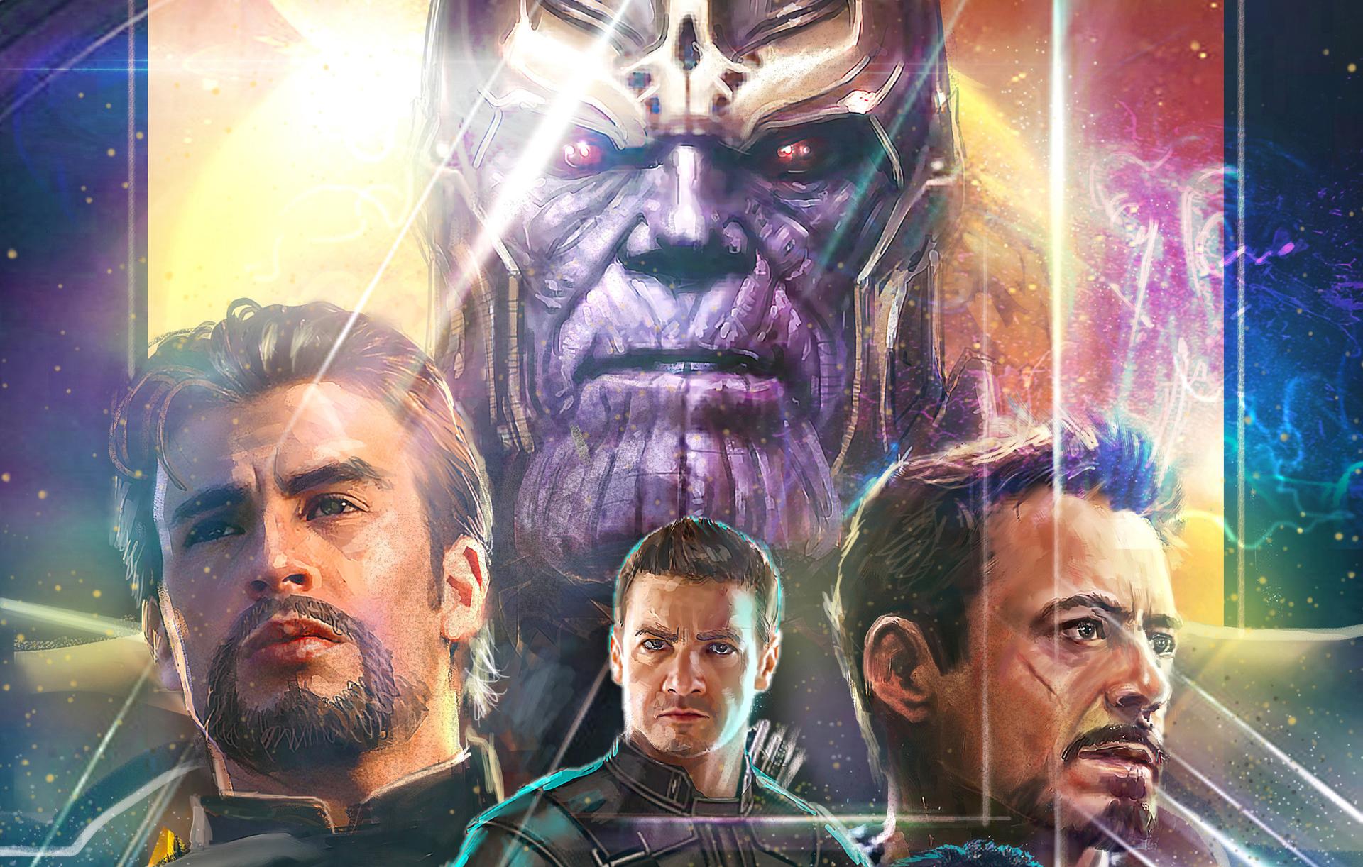 Wallpaper Thanos Avengers Infinity War Artwork Hd: Thanos Iron Man Captain America Hawkeye In Avengers
