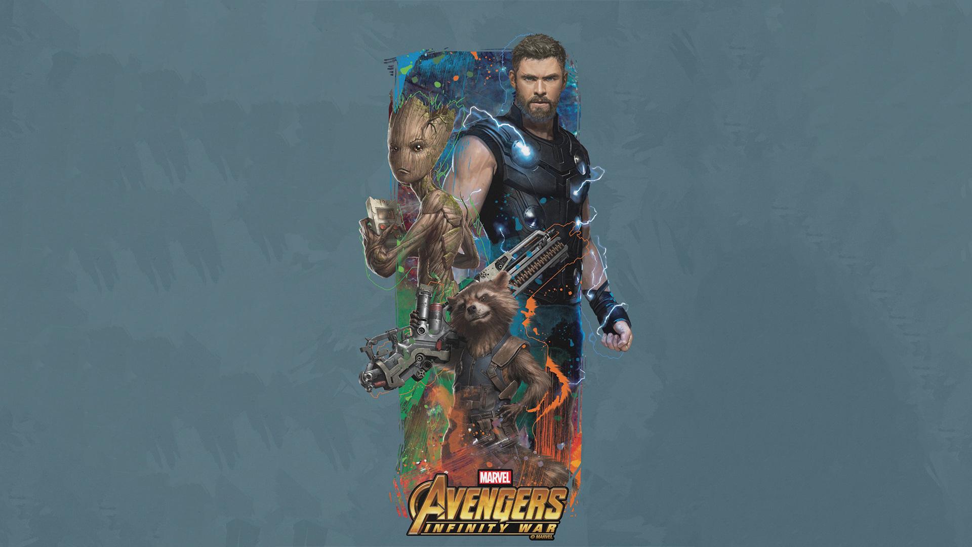 Thor Rocket Groot Avengers Infinity War Artwork