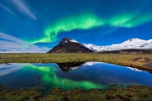 Aurora Borealis Light Mountain Nature Reflection