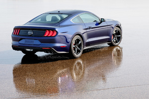 2019 Ford Mustang Bullitt Kona Blue Rear Wallpaper