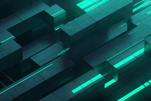 3d Abstract Neon Glow Teal Digital Art Shapes Wallpaper