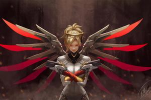 4k Mercy Overwatch Art Wallpaper