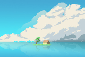 8 Bit Artwork House Island In Middle Of Water Wallpaper