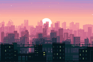 8 Bit Pixel Art City Wallpaper