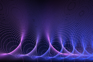 Acoustic Waves Abstract Purple Artistic
