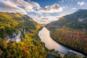 Adirondack Mountains River Clouds Trees 5k Wallpaper