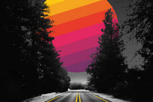 Adventure Road Abstract Colorful Sun Wallpaper