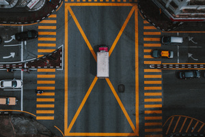 Aerial Photography Pedestrian Crossing Vehicles Wallpaper