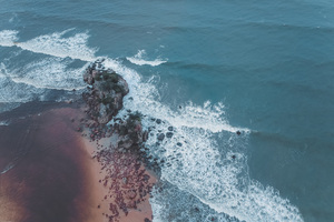 Aerial Shot Of Beach Seashore 4k