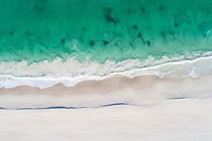 Aerial View Of Beach Clear Ocaen Sand 5k Wallpaper