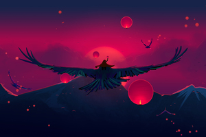 Aged Bird Flight Digital Art Wallpaper