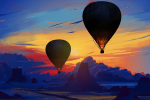 Air Balloon Floating Wallpaper