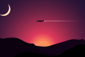 Aircraft Moon Mountains Sunset Wallpaper