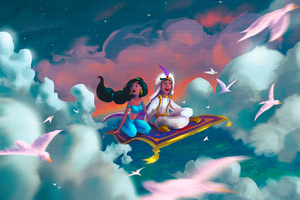 Aladdin And Jasmine Art Wallpaper