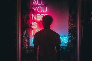 All You Need Is Love And Friends Neon Man Standing 5k Wallpaper