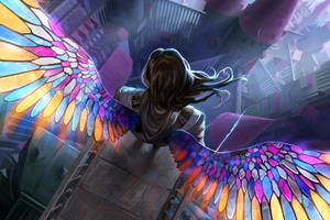 Angel Colorful Wings 5k Wallpaper