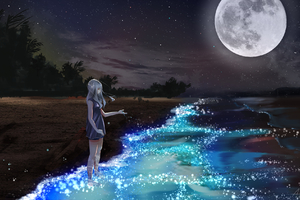 Anime Girl At Seashore Dark Moon Wallpaper