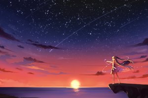 Anime Girl Barefoot Blonde Sky Stars Sunset 4k