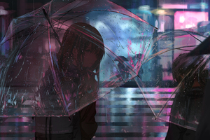 Anime Girl In Rain With Umbrella 4k Wallpaper